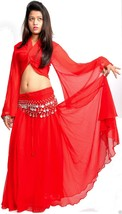 RED Tribal Belly Dance Costume Set of 4 Pc (Top, Saia, Scarf, Arm Band) - $28.71