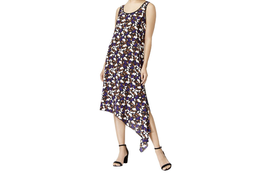 $99 Anne Klein Printed Asymmetrical Dress BlackAfrican Violet Combo XL - $62.36