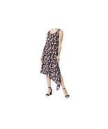 $99 Anne Klein Printed Asymmetrical Dress BlackAfrican Violet Combo XL - $62.36