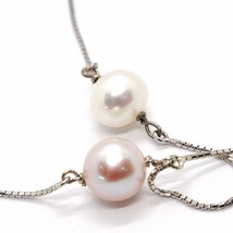 Necklace White Gold 750 18K, Pearls Purple & White, with Pendant, Chain Venetian image 2