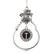 Inspired Silver My Initials - Letter T Circle Snowman Holiday Christmas Tree Orn - $14.69