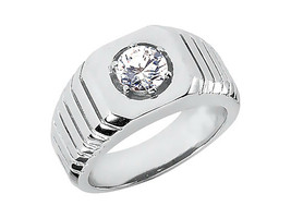 Mens Engagement Solitaire Diamond Ring 14k White Gold Finish 925 Sterlin... - £68.75 GBP