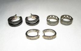 3 Pair Vintage Sterling Silver & Diamond Huggie Hoop Earrings C2889 - $54.09