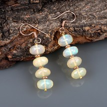 Faceted Ethiopian Opal 925 Sterling Silver Rose Gold Plated Drop Dangle ... - $49.99