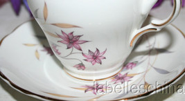 Tea Cup and Saucer Pink Wild Flowers Fancy Teacup Duo Made in England by... - $27.95
