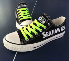 seahawks shoes womens seahawks sneakers converse style tennis shoe seattle fans - $56.00