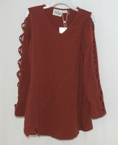 Simply Noelle Curtsy Couture Girls Cutout Long Sleeve Shirt Paprika Size Medium