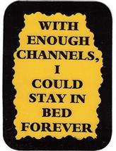 """With Enough CChannels I Could Stay In Bed Forever 3"""" x 4"""" Love Note Humorous Say - $2.69"""