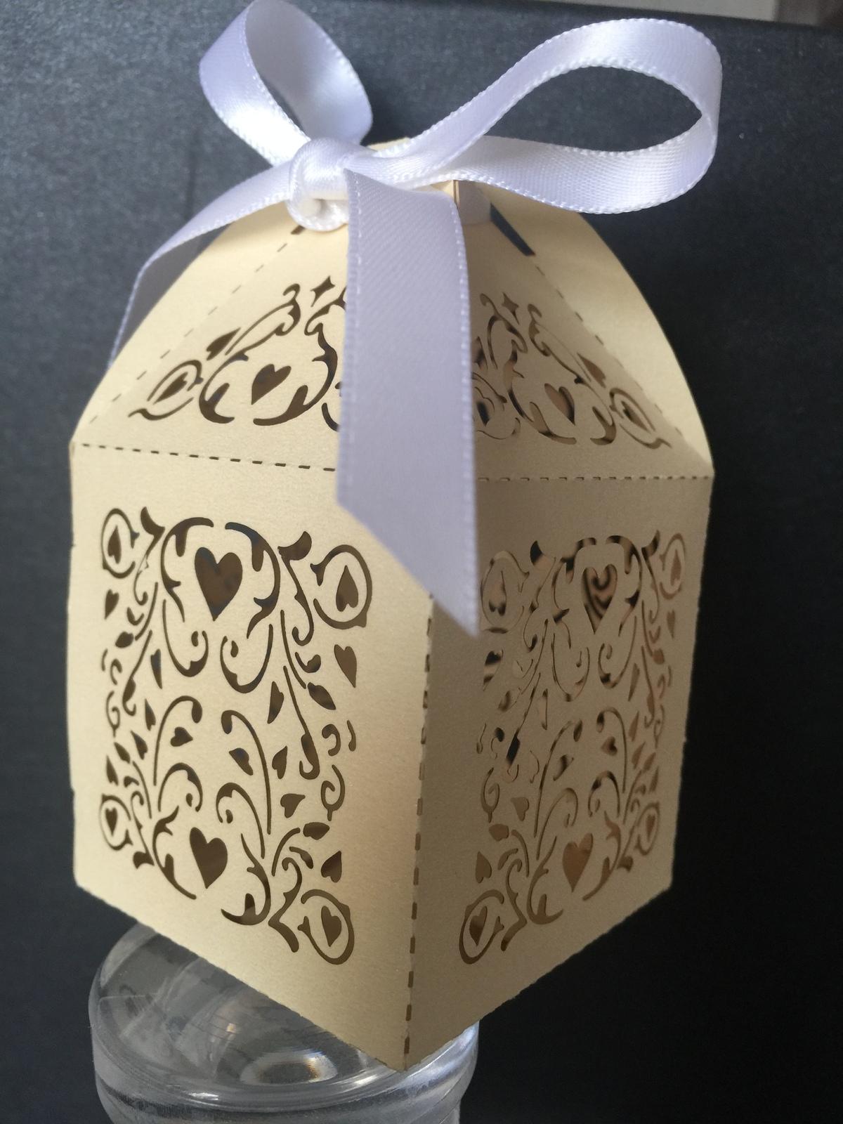 100pcs wedding favor box,Light Gold gift Packaging box with ribbon