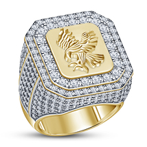 Round Cut White Diamond Men's Band Eagle Ring 14k Yellow Gold Plated 925... - $137.79