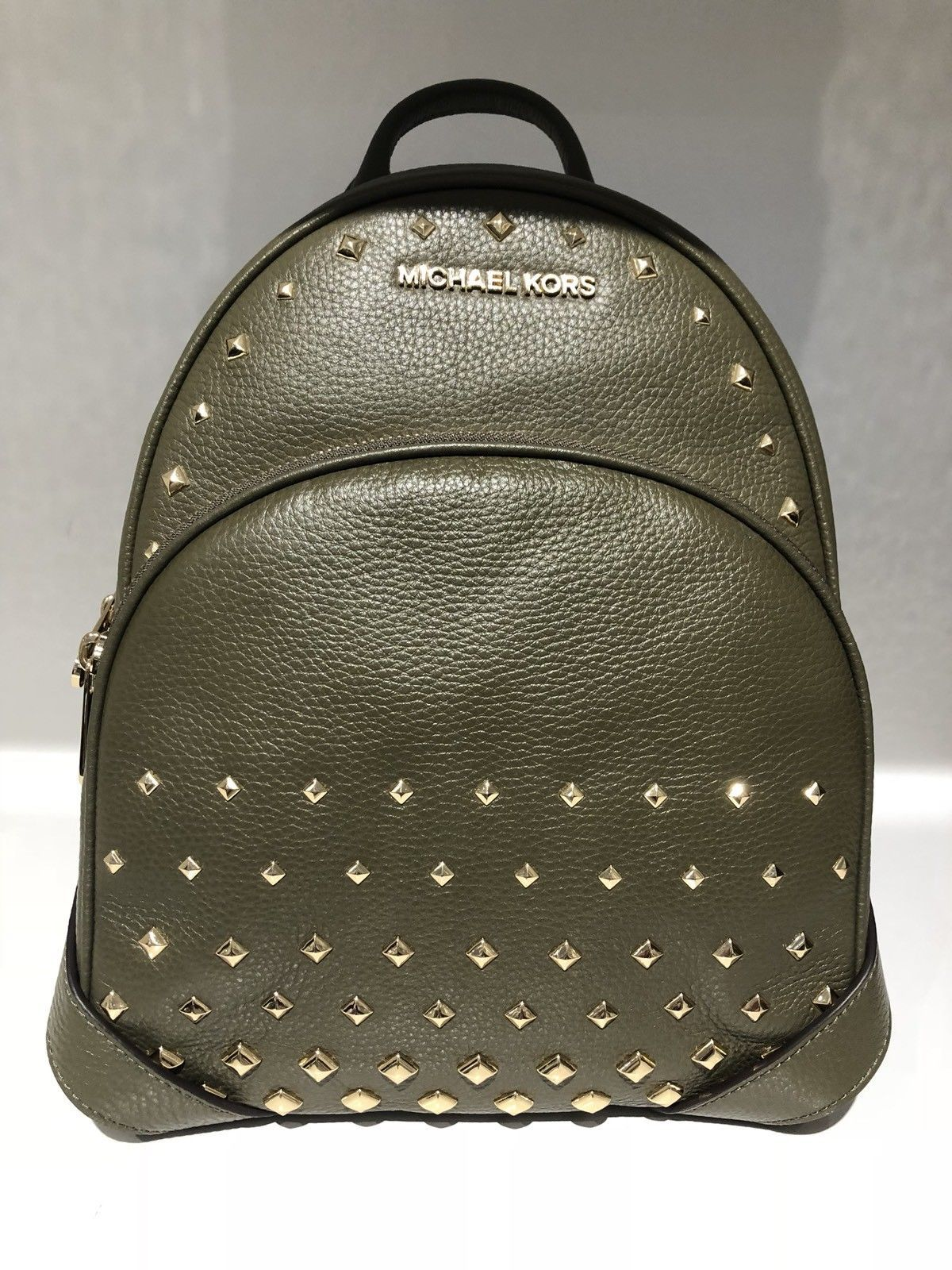 ec37986c0608 NWT MICHAEL KORS ABBEY MEDIUM STUDDED BACKPACK LEATHER OLIVE