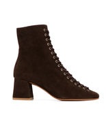 BY FAR Becca Lace-up Brown Suede Ankle Heeled Boots - $375.00