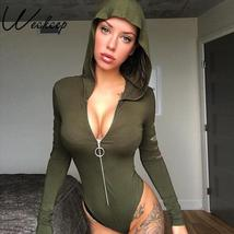 Weekeep Sexy Hooded Hole Hollow Out Bodysuit Women Long Sleeve Bodycon B... - $37.52