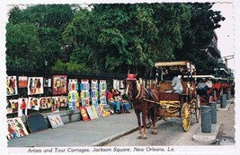 Louisiana Postcard New Orleans Artists & Tour Carriages - $2.26