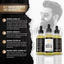 Certified Organic Beard Oil 2oz | For Softer, Smoother Facial Hair Growth | Leav image 2