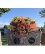 Harvest Sunflower Grave Saddle Handmade Deco Mesh - $92.99