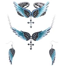 Women's Angel Wing Cross Necklace Earrings Bracelet Set image 14
