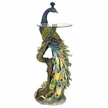 "PEACOCK STATUE END TABLE 45"" Glass Top Pedestal Sculpture Furniture Coll... - $549.95"