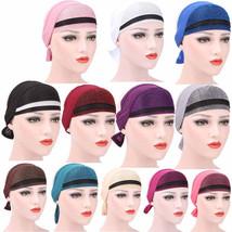 Women Muslim Stretch Turban Hat Chemo Cap Hair Loss Head Scarf Wrap Hiji... - $4.14