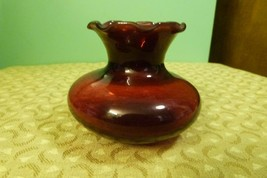 """Vintage Anchor Hocking Ruby Red Glass Bud Vase - 3"""" t x 4"""" w - Very Nice - $7.87"""