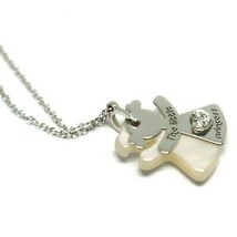 Necklace with Twin Girl Pendant Charm White Gold 750 18K,Diamond,Mother ... - $330.86
