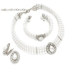3 Rows Rhinestone Trimmed Simulated Pearl Choker Necklace, Bracelet, Cli... - $21.47