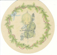 Vintage Christmas Card Betsey Clark Girl and Cello Unused with Envelope Hallmark - $6.92