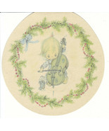 Vintage Christmas Card Betsey Clark Girl and Cello Unused with Envelope ... - $6.92