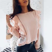 New Arrival 2018 Spring Womens Sexy Lace Tops and Blouses White Pink Chi... - $13.98