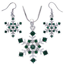 Dark Green - Snowflake Bridesmaid Necklace Earrings Prom Wedding Jewelry... - $29.98