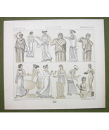 GREEK WOMEN Dressd Fashion Tunic etc - (3) Three Tinted Litho Prints by ... - $12.15