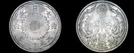 1923 (Yr12) Japanese 50 Sen World Silver Coin - Japan - $21.99