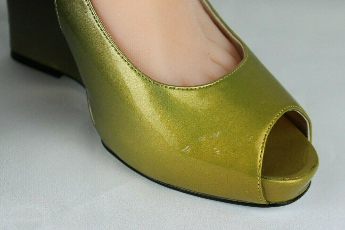 Jessica Simpson pensly women's wedge heels shoes green open toe size 10B image 4