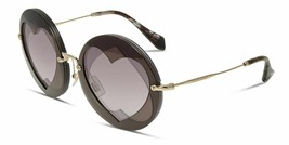 NEW MIU MIU Women's 01SS Layered Double Heart Round Sunglasses Violet/Brown - $176.42