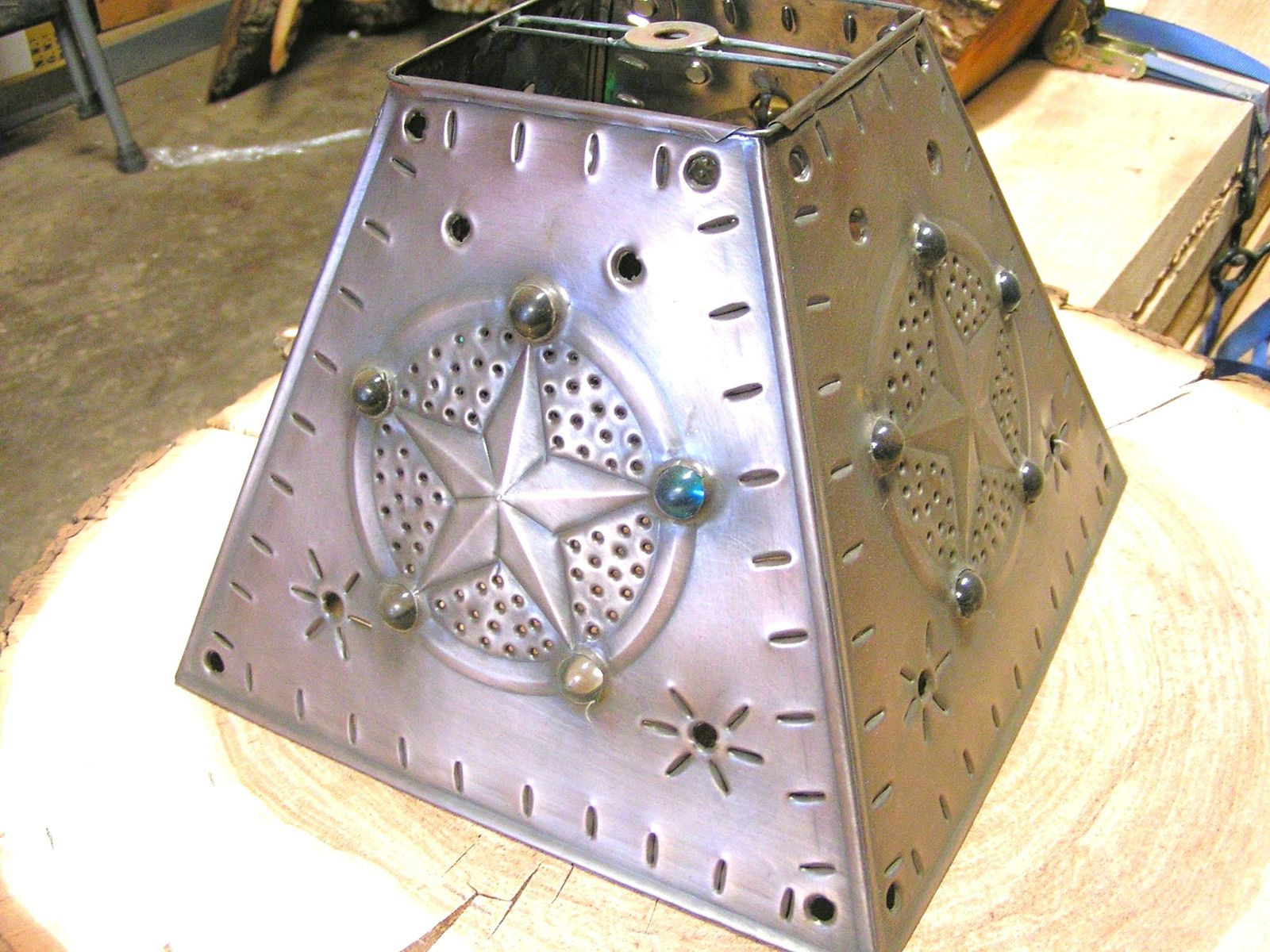 Brushed Tin Punch Lamp Shade Star Beads Square Western