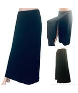 Linda Allard for Ellen Tracy Black Long Wrap Wool Skirt Size 6 -8 Back P... - $39.58