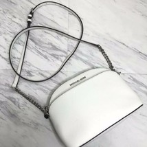 Michael Michael Kors Emmy Crossbody Bag White Chain Strap Silver Small - $92.29