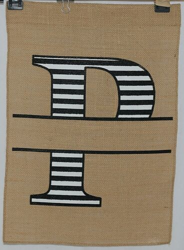 Kate Winston Brand Brown Burlap Monogram Black White P Garden Flag