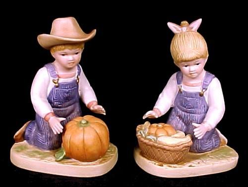 46427a homco 1985 denim days boy girl figurines pumpkin harvest time home interior