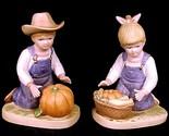 46427a homco 1985 denim days boy girl figurines pumpkin harvest time home interior thumb155 crop