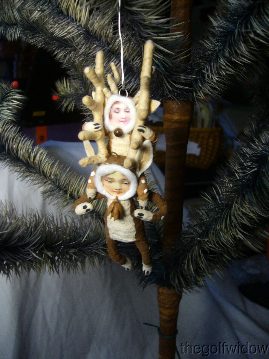 Vintage Inspired Spun Cotton Piggy Back Reindeer Christmas Ornament no. E21