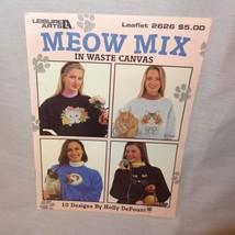 Meow Mix Waste Canvas Cats Cross Stitch Patterns Leisure Arts Leaflet 2626 1994 - $10.99