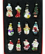 Avon Miniature Glass Christmas Ornaments Set Of 12 In Original Box Each Unique - $21.12