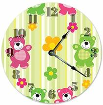 Sugar Vine Art Happy Bears Nursery Silent Non Ticking Round Battery Oper... - $24.29
