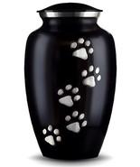 Best Friend Services Ottillie Paws Series Pet Urn Ebony Vertical Pewter ... - $36.26