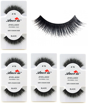 6 Pairs AmorUs 100% Human Hair False Eyelashes # 76 compare Red Cherry - $8.90