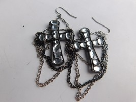Vintage Gothic Black Cross Rhinestone Motorcycle Biker Chain Pierced Ear... - €16,10 EUR