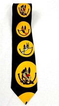 Looney Tunes Mania Smiley Face Emoji NeckTie Bugs Bunny Daffy Duck Taz 1996 - $15.84