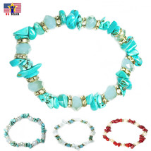 Women Silver Gold Turquoise Gemstone Bohemian Stretch Bracelet Valentine... - $3.15+