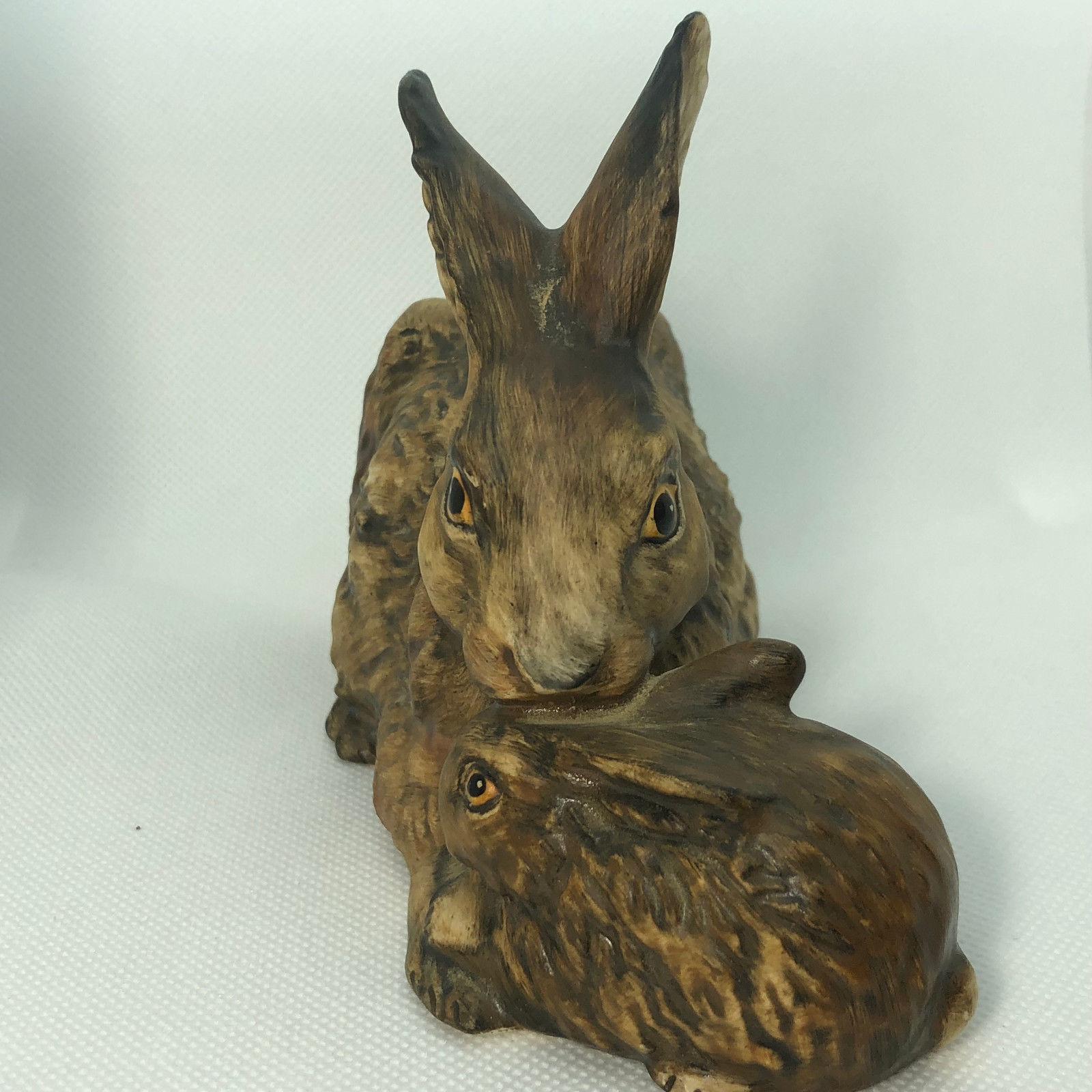 1975 GOEBEL BUNNY RABBIT FIGURINE brown mother baby 34301-1 W Germany sculpture